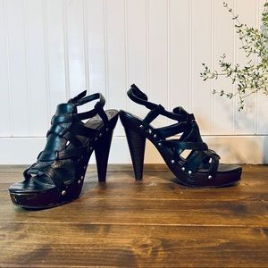 Fergalicious Black Strappy Platform Sandals